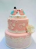 תמונה של עוגת חתונה ציפרים מאוהבות