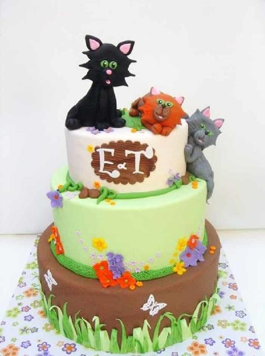 תמונה של עוגת חתונה שלושה חתולים