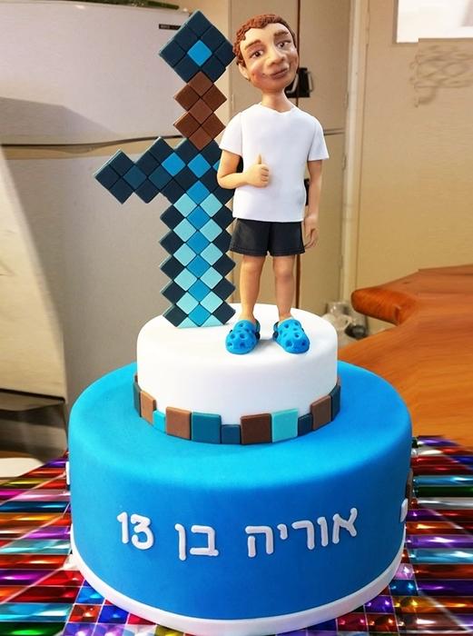 תמונה של עוגת בר מצווה מיינקראפט