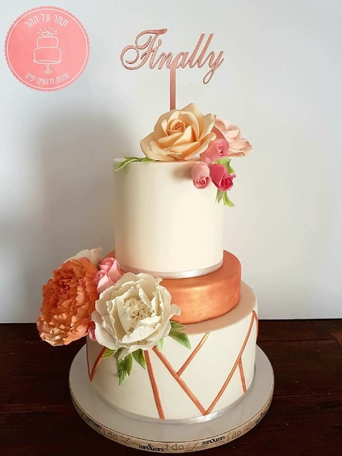 תמונה של עוגת חתונה אלגנטית רוז גולד