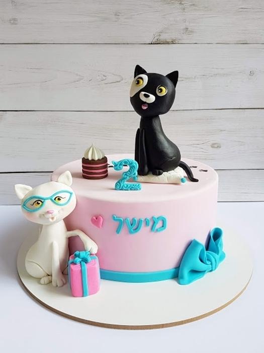 תמונה של עוגת יום הולדת חתולים