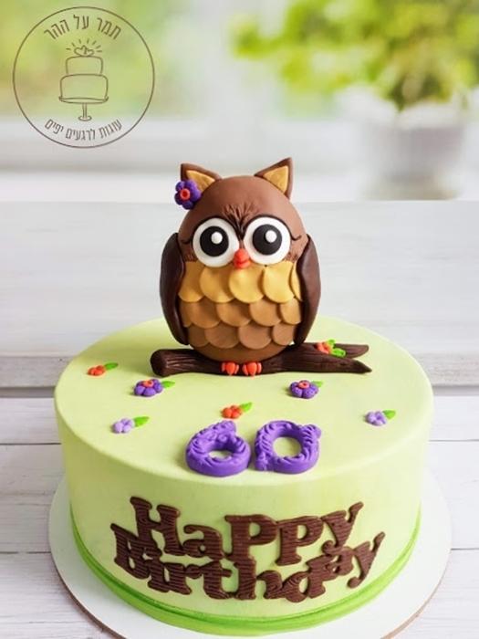 תמונה של עוגת יום הולדת ינשופה